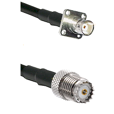 BNC 4 Hole Female on RG58 to Mini-UHF Female Cable Assembly