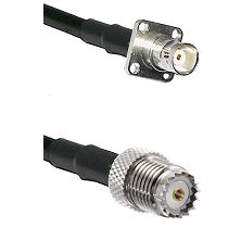 BNC 4 Hole Female on RG58 to Mini-UHF Female Cable Assembly