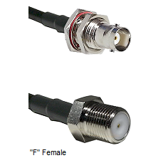 BNC Female Bulkhead Connector On LMR-240UF UltraFlex To F Female Connector Cable Assembly