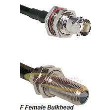 BNC Female Bulkhead Connector On LMR-240UF UltraFlex To F Female Bulkhead Connector Coaxial Cable As