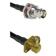 BNC Female Bulkhead on RG58C/U to SMA 4 Hole Right Angle Female Cable Assembly