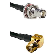 BNC Female Bulkhead on RG58C/U to SMC Right Angle Female Cable Assembly