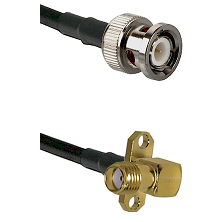 BNC Male on Belden 83242 RG142 to SMA 2 Hole Right Angle Female Cable Assembly