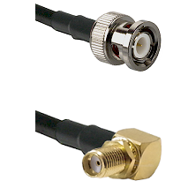 BNC Male on Belden 83242 RG142 to SMA Reverse Thread Right Angle Female Bulkhead Coaxial Cable Assem