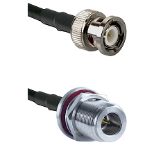 BNC Male on LMR200 UltraFlex to N Reverse Polarity Female Bulkhead Cable Assembly
