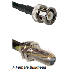 BNC Male Connector On LMR-240UF UltraFlex To F Female Bulkhead Connector Cable Assembly