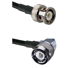 BNC Male Connector On LMR-240UF UltraFlex To C Right Angle Male Connector Cable Assembly