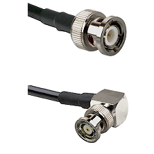 BNC Male on LMR240 Ultra Flex to BNC Reverse Polarity Right Angle Male Cable Assembly