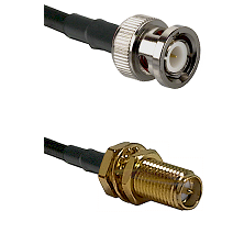 BNC Male on LMR240 Ultra Flex to SMA Reverse Polarity Female Bulkhead Cable Assembly