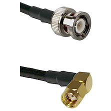 BNC Male Connector On LMR-240UF UltraFlex To SMA Reverse Polarity Right Angle Male Connector Coaxial