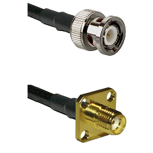 BNC Male Connector On LMR-240UF UltraFlex To SMA 4 Hole Female Connector Cable Assembly