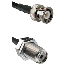BNC Male On LMR400UF To UHF Female Bulk Head Connectors Ultra Flex Coaxial Cable