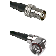 C Female on RG142 to 7/16 Din Right Angle Male Cable Assembly
