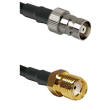 C Female on RG142 to SMA Reverse Thread Female Cable Assembly
