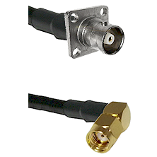 C 4 Hole Female Connector On LMR-240UF UltraFlex To SMA Reverse Polarity Right Angle Male Connector