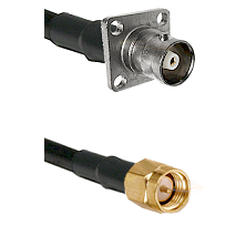 C 4 Hole Female Connector On LMR-240UF UltraFlex To SMA Reverse Thread Male Connector Coaxial Cable