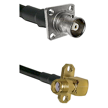 C 4 Hole Female on RG400 to SMA 2 Hole Right Angle Female Cable Assembly