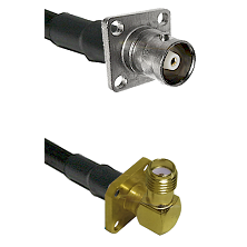 C 4 Hole Female on RG400 to SMA 4 Hole Right Angle Female Cable Assembly