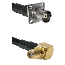C 4 Hole Female on RG400 to SMA Reverse Thread Right Angle Female Bulkhead Cable Assembly
