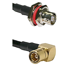 C Female Bulkhead on LMR-195-UF UltraFlex to SMB Right Angle Female Cable Assembly