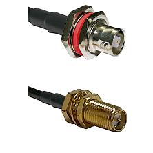 C Female Bulkhead on RG142 to SMA Reverse Polarity Female Bulkhead Cable Assembly