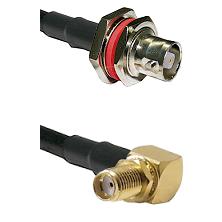 C Female Bulkhead on RG393 to SMA Reverse Thread Right Angle Female Bulkhead Cable Assembly