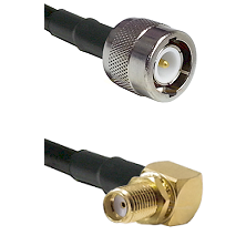 C Male Connector On LMR-240UF UltraFlex To SMA Reverse Thread Right Angle Female Bulkhead Connector