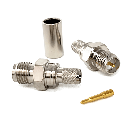 SMA Female Reverse Polarity Crimp Connector Gold For LMR200