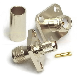 SMA Female 4-Hole Panel Mount Crimp Connector For RG58 LMR195 Nickel