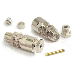 SMA Female Bulkhead Jack Captive Contact for RG174DS, RG316DS Clamp 50ohm DC-12.4GHz Brass Nickel Co