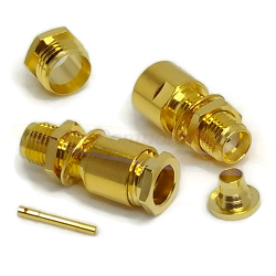 SMA Female Bulkhead Captive Contact for RG180, RG195 Clamp Brass Gold