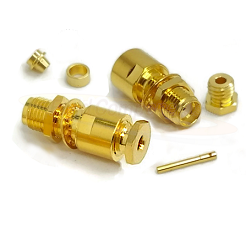 Gold SMA Female Bulkhead Connector Captive Contact for RG178DS, RG196DS Clamp Brass
