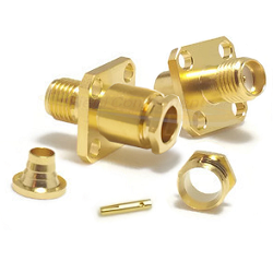 SMA Female 4 Hole Panel Mount Connector Captive Contact for RG142, RG223 Gold