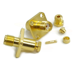 SMA Female 4 Hole Panel Mount Connector with Captive Contact for RG174, RG179, RG314 Gold Plated