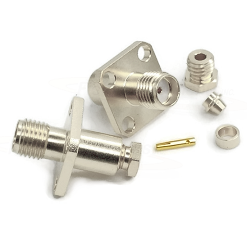 SMA Female 4 Hole Panel Mount Jack Captive Contact for RG174, RG179, RG315 Connectors