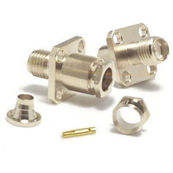 SMA Female 4 Hole Panel Mount Connector Captive Contact for RG180, RG195 Nickel Brass