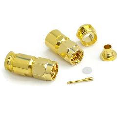 SMA Male Connector RG55 RG142 RG223 RG400 Gold SS