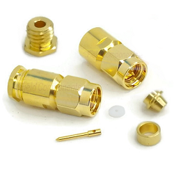 SMA Male Clamp Connector for RG178 RG196 Gold Plated