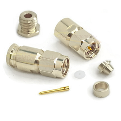SMA Male COnnector with Captivated Contact for RG178/RG196 Clamp Stainless Steel Passivated