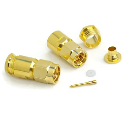 Gold SMA Male Clamp Connector for RG180 RG195 (Brass)