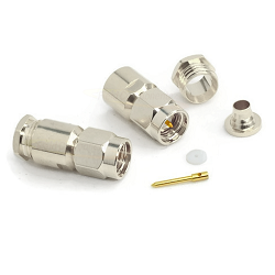 Passivated SS SMA Male Clamp Connector for RG180 RG195