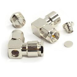 SMA Male R/A Connector for RG55 RG58 RG142 RG223 RG400 Clamp Brass Nickel