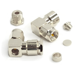 SMA R/A Male Connector with Captivated Contact for RG178 RG196 Nickel Brass