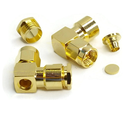 SMA Male R/A Connector for RG180, RG195 Clamp B24 50ohm DC-12.4GHz Brass Gold Plated