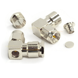 SMA Male R/A Connector for RG180, RG195 Clamp Brass Nickel Plated