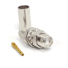 SMA Female Bulkhead Jack for LMR240, RG8X Crimp 50ohm DC-18.0GHz Brass Nickel Connector