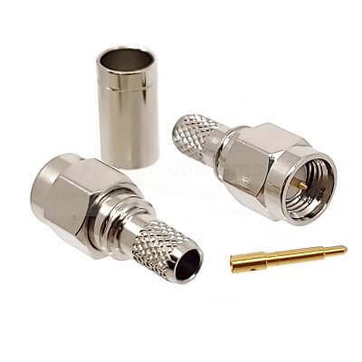 SMA Male Connector LMR200 Nickel Plated Brass 50ohm Crimp