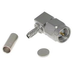 SMA Right Angle Male Plug for RG174, RG179, RG187, RG188, RG316, LMR100A Connectors