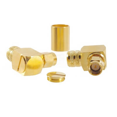 SMA Right Angle Male Crimp Plug for LMR400 Connectors
