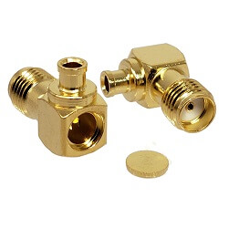 SMA R/A Gold Female Solder Connector for RG405 .085 Cable